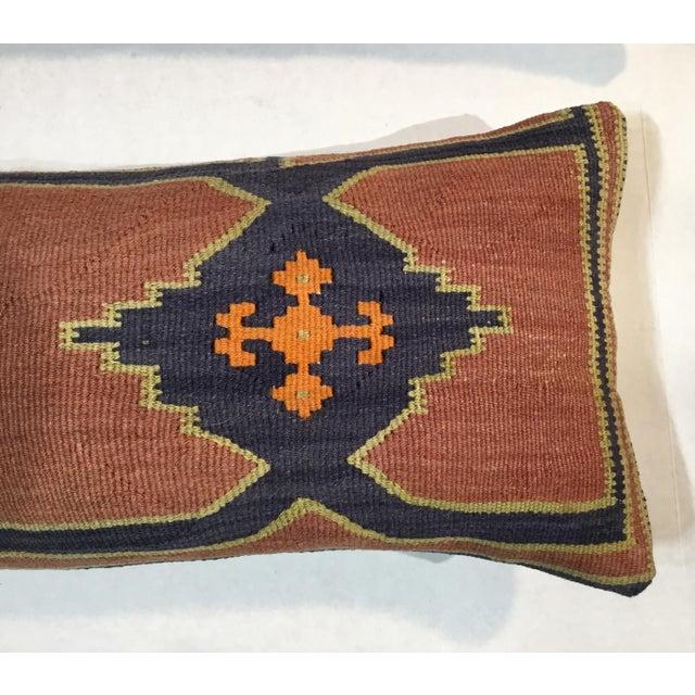 Orange 1960s Mediterranean Kazak Cotton Pillows - a Pair For Sale - Image 8 of 13