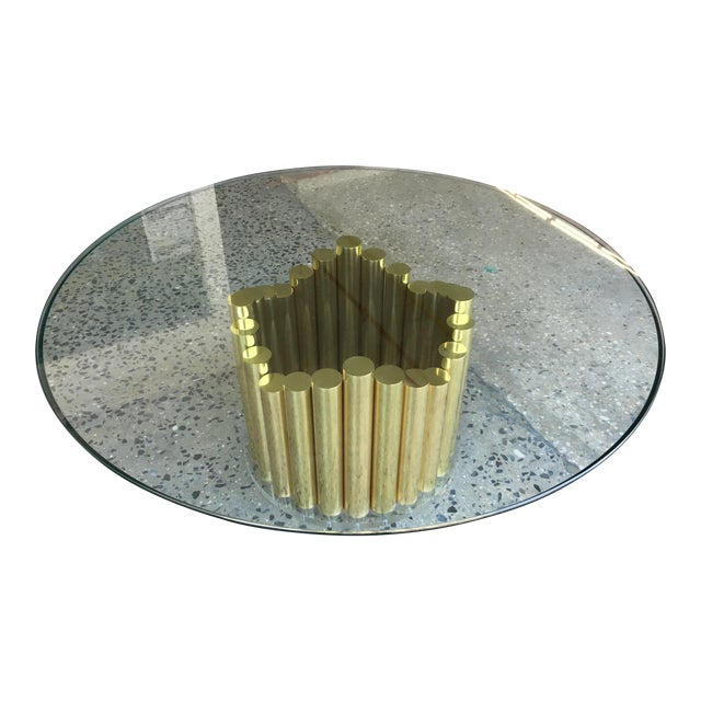 1980's Karl Springer Style Brass Lucite & Glass Cocktail Table - Image 1 of 10