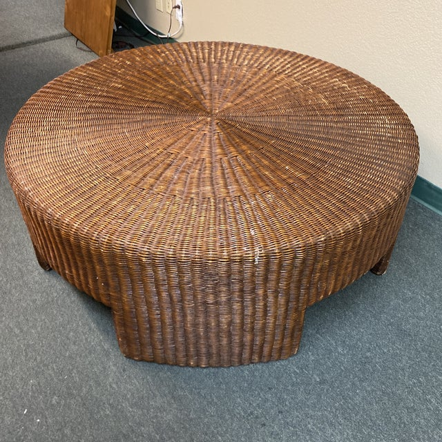 Hickory Chair Furniture Company Hickory Chair Company Wicker Coffee Table For Sale - Image 4 of 8