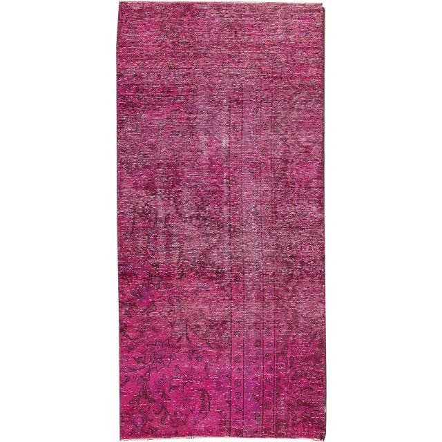 "Apadana - Vintage Overdyed Distressed Rug, 2'7"" x 5'7"" For Sale"