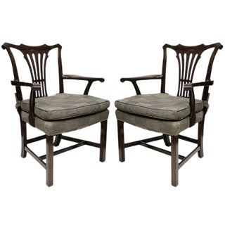 Georgian Style Arm Chairs - A Pair For Sale