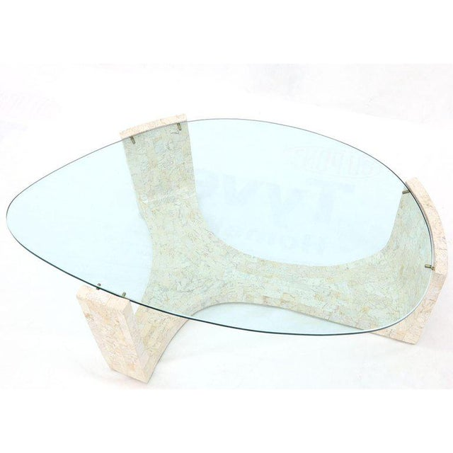 Tessellated Stone Veneer Tile Organic Kidney Shape Coffee Center Table For Sale - Image 10 of 13