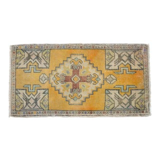 Distressed Low Pile Turkish Yastik Petite Rug Hand Knotted Faded Mat - 20'' X 37'' For Sale