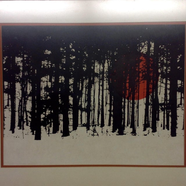 Monochrome Forest Screen Print with Red Sun - Image 4 of 6