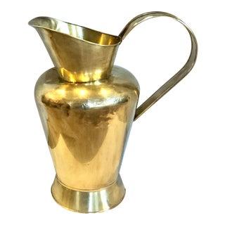 "Vintage Large Brass ""Pitcher"" Fireplace Accessory Planter Vase For Sale"