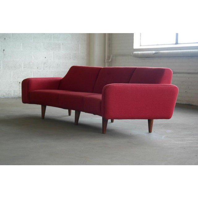 Aarhus Large Danish 1960s Illum Wikkelso for Aarhus Model 450 Curved Sofas - a Pair For Sale - Image 4 of 13