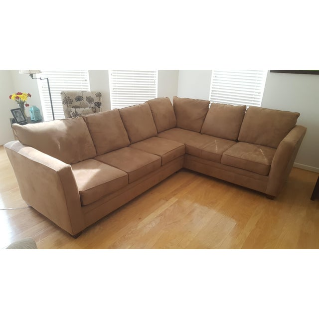 Macy's L-Shaped Suede Sectional Sofa - Image 2 of 5