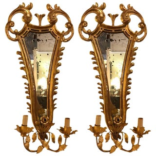 19th Century French Gilt Wood Mirrored Back Wall Sconces - a Pair For Sale