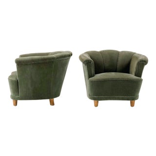 20th Century Green Swedish Lounge Chairs - a Pair