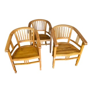 Italian Olive Wood Captains Chairs For Sale