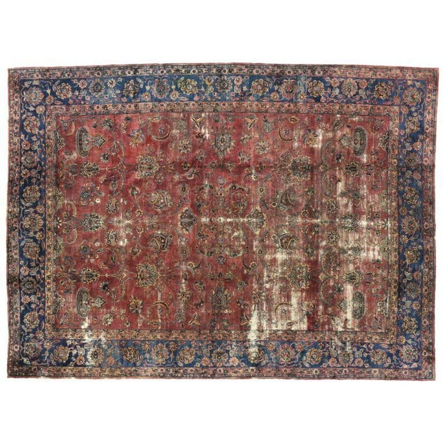 Distressed Antique Persian Kerman with Modern Industrial Style For Sale In Dallas - Image 6 of 8