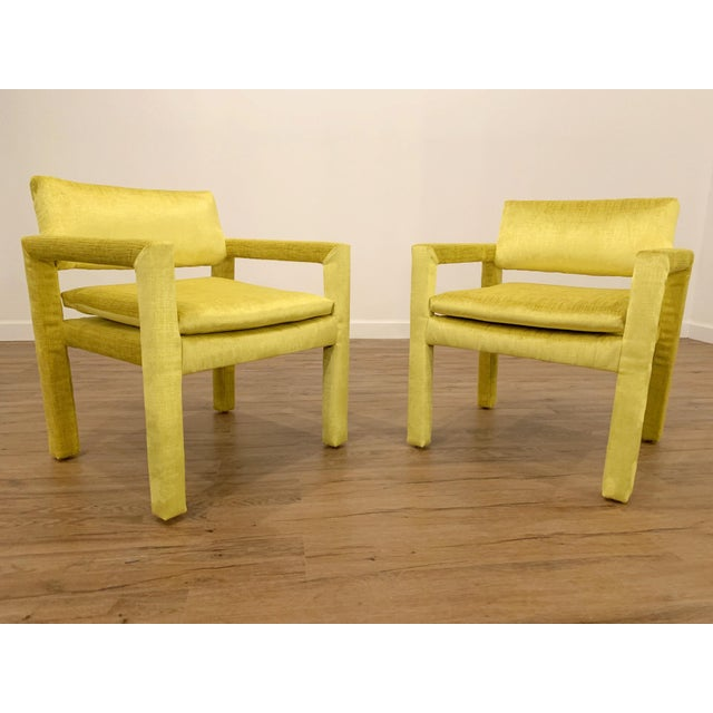 Velvet Milo Baughman for Thayer Coggin Parsons Chairs - a Pair For Sale In Raleigh - Image 6 of 6