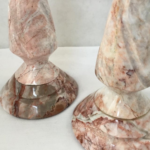 Stone 1970s Red Stone Candlesticks - a Pair For Sale - Image 7 of 11
