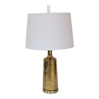 Modernist Ceramic Lamp in Brilliant Electroplated Gold by C. Damien Fox 2018 For Sale