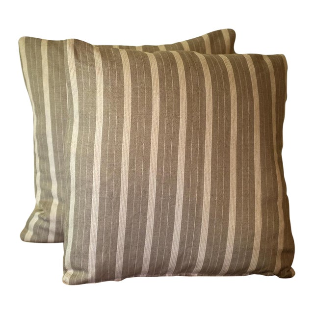 Rogers & Goffigon Linen Striped Pillows - Pair - Image 1 of 4