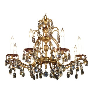 Vintage French Brass Bronze Cut Lead Crystal Double Pineapple Chandelier For Sale