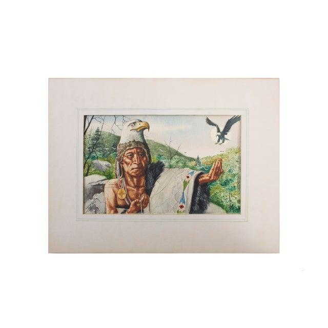 Paint Original William Sauts Netamuxwe Bock Watercolor For Sale - Image 7 of 7