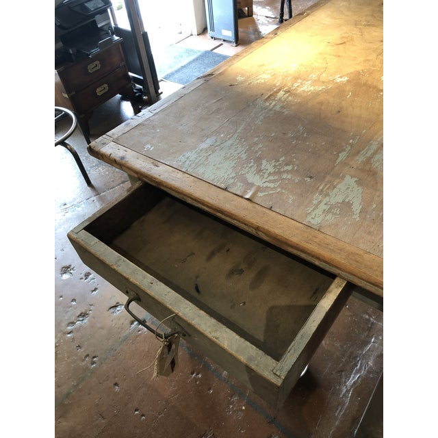 Antique Painted Wood Continental Table With Patina and Two Drawers For Sale In Atlanta - Image 6 of 13