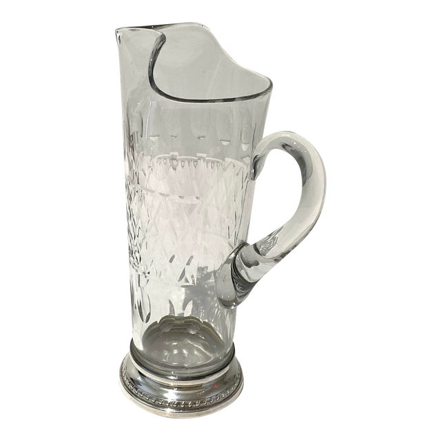 Vintage Glass and Sterling Pitcher For Sale