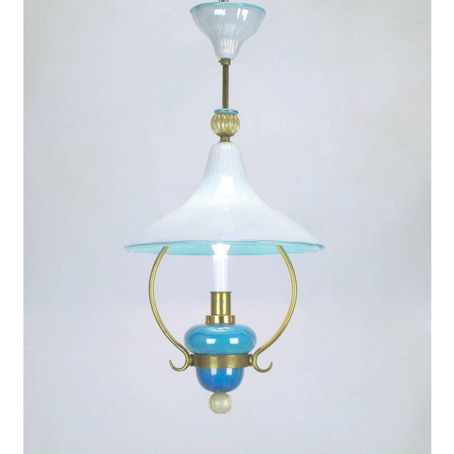 Italian Murano Blue and White Cased Glass Hooded Pendant Chandelier For Sale In Chicago - Image 6 of 7