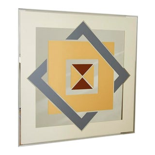 1980s Screenprinted Geometric Graphic Wall Mirror For Sale