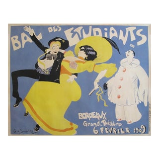 1909 Vintage French Belle Epoque Poster, Bal Des Etudiants