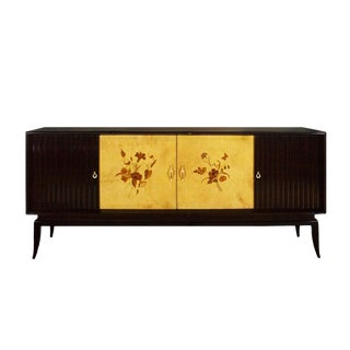 1940s Sideboard, Stained Ash Veneer, Parchment, Marquetry, Sycamore, Italy For Sale