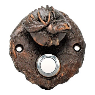 Log End Moose Doorbell with Traditional Patina For Sale
