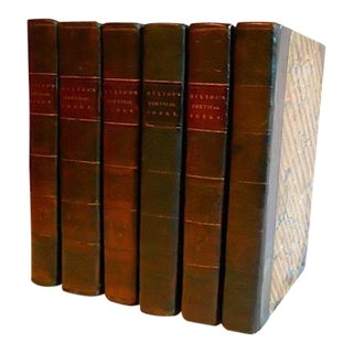 19th C. Poetical Works of John Milton Leather Binding Books - Complete 6 Volumes For Sale