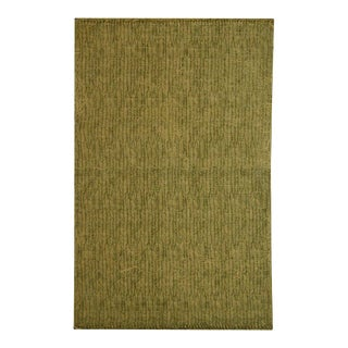 Green and Beige Cotton 'Dhurrie' Rug - 4′ × 6′ For Sale