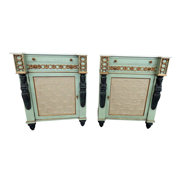 Pair of Marble Top Empire Style Commodes For Sale