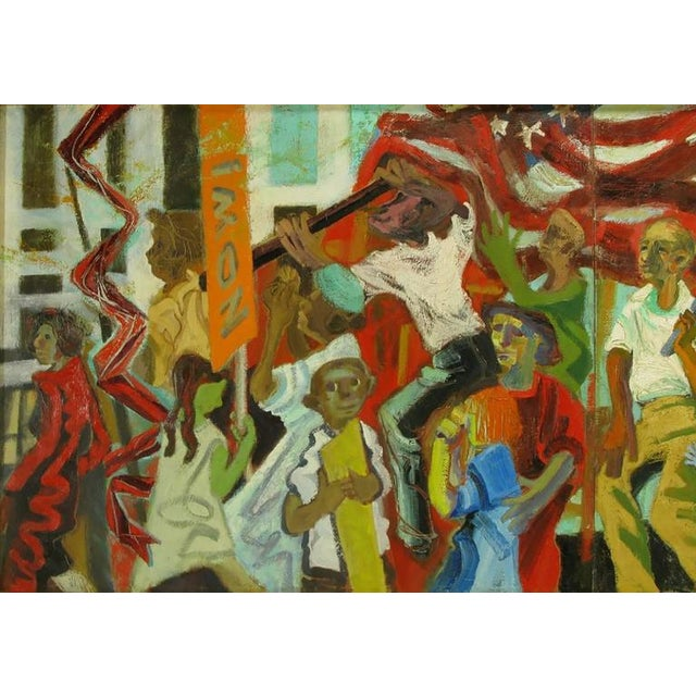 Expressionism Important 12.5' 1965 Civil Rights Mural by Joan Linsley (1922-2000) For Sale - Image 3 of 11