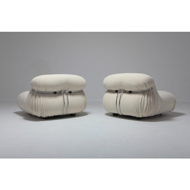 Afra & Tobia Scarpa Cassina 'Soriana' Pair of Lounge Chairs by Afra and Tobia Scarpa - 1970s For Sale - Image 4 of 11