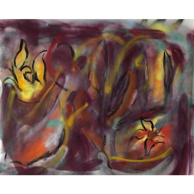 Erik Sulander Original Abstract Oil Painting by Erik Sulander on Paper 46x36 For Sale - Image 4 of 5