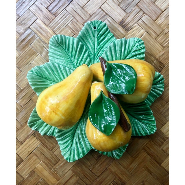 Hollywood Regency Italian Trompe L'oeil Ceramic Pear Plate For Sale - Image 3 of 10