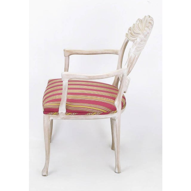 Four Lime Wash Floral Carved Dining Chairs In the Manner Of Phyllis Morris - Image 6 of 9