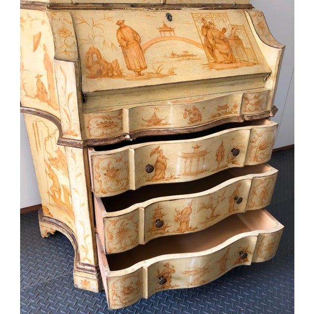 Late 19th Century 19th C. Italian Hand Painted Secretary Bookcase With Chinoiserie Decor For Sale - Image 5 of 11