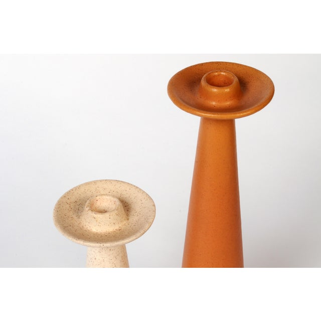 Danish Modern Mid-Century Rust and Cream Ceramic Candlesticks - a Pair For Sale - Image 3 of 6
