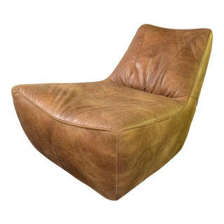 Vintage Mid Century Gerard Van Den Berg Distressed Leather Chair For Sale