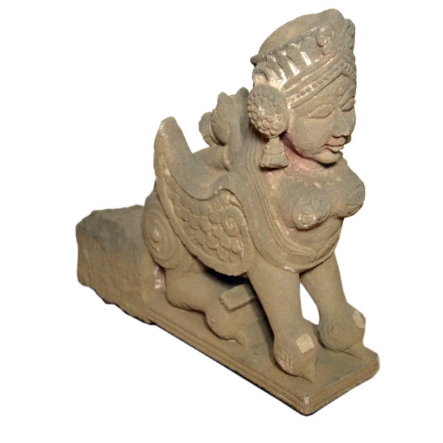 Stone 19th Century Hand-Carved Stone Sphinx With Tiara and Earrings Sculpture For Sale - Image 7 of 13