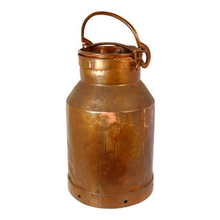 Large Antique Copper Milk Can For Sale