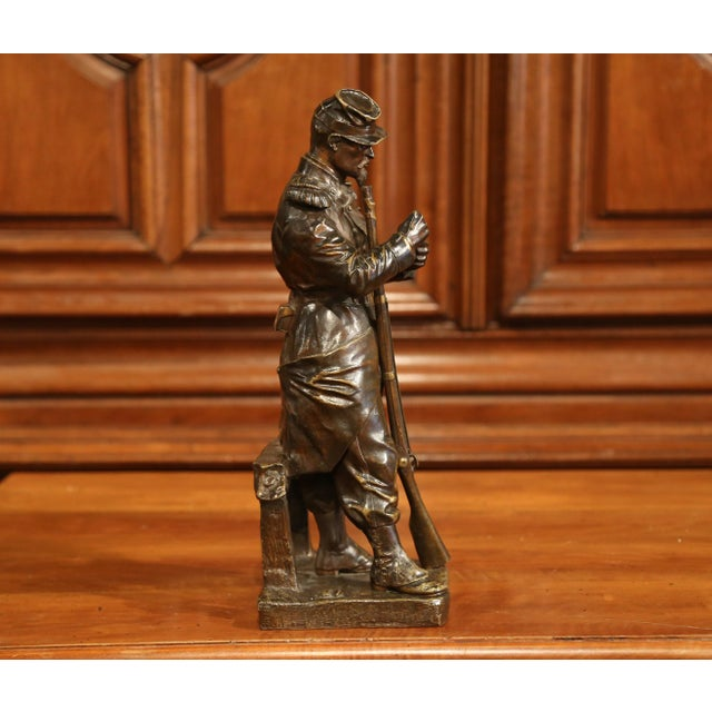 """19th Century French Patinated Bronze Sculpture """"La Halte"""" Signed L. Mennessier For Sale In Dallas - Image 6 of 10"""