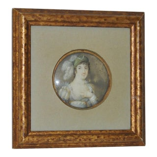Framed 19th Century Portrait Miniature of Woman W/ Elaborate Headdress For Sale