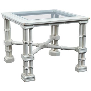 Small White Faux Bamboo Fretwork Table For Sale