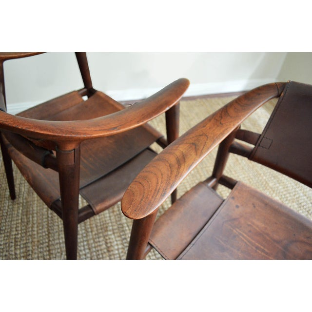 1950s Vintage Rolf Rastad & Adolf Relling for Gustav Bahus Leather Bambi Chairs- a Pair For Sale - Image 5 of 9