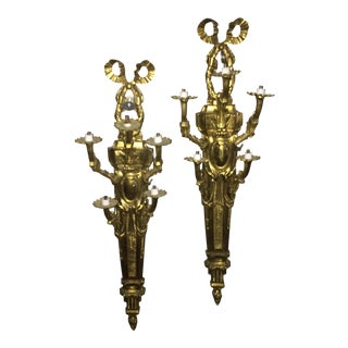 Bronze Ribbon Wall Sconces - A Pair