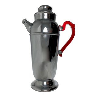 Mid-Century Modern Chrome & Ruby Red Bakelite Cocktail Shaker For Sale
