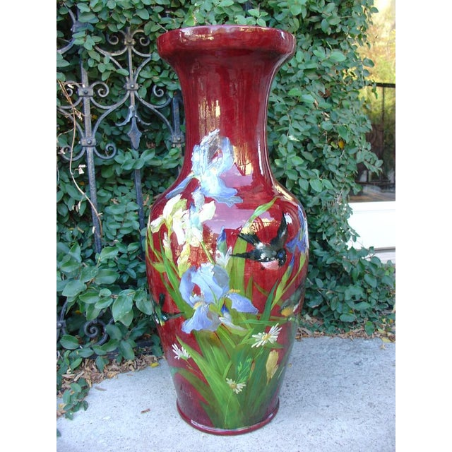 This large antique French barbotine vase was created in a faiencerie in the town of Bourg-la-Reine, France, in the late...