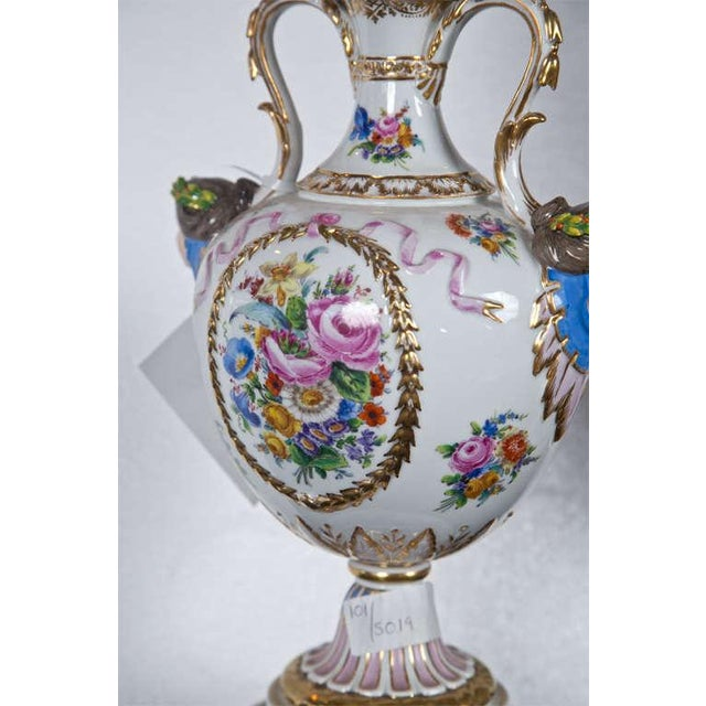 Porcelain Meissen Style Urn Form Lamps - Pair For Sale - Image 5 of 9