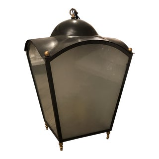 Painted Iron / Gilt Bronze Hanging Lantern For Sale